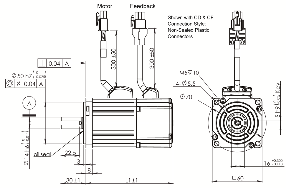 AC Servo Motor SM060 dimensions without brake
