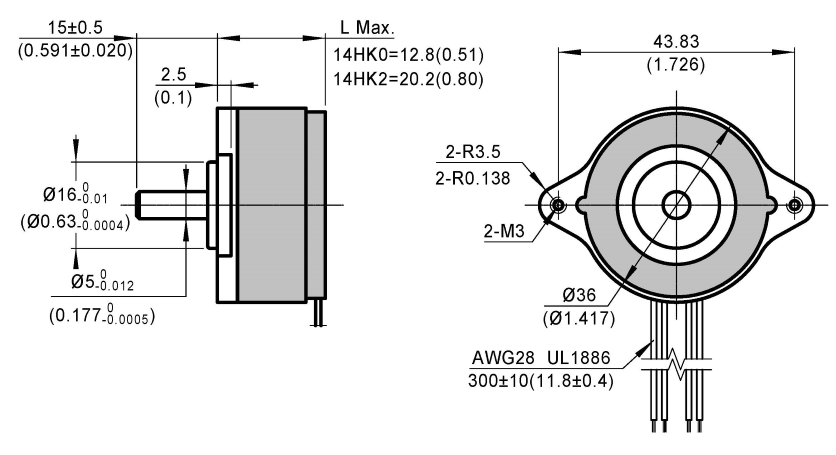 stepper motor 14HK dimensions