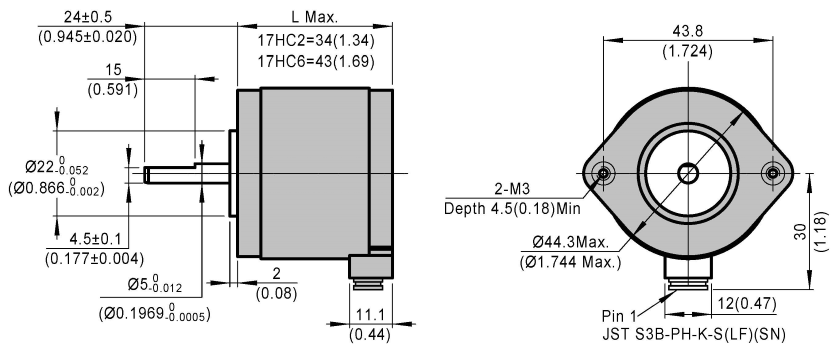 3-Phase Stepper Motor 17HC dimensions