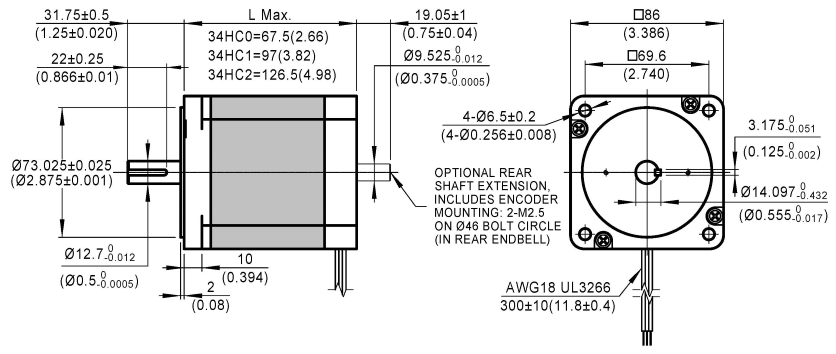 3-Phase Stepper Motor 34HC dimensions