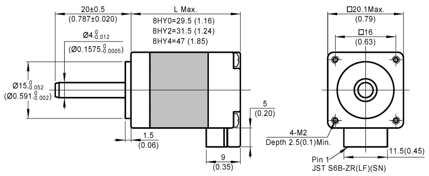 stepper motor 8HY dimensions
