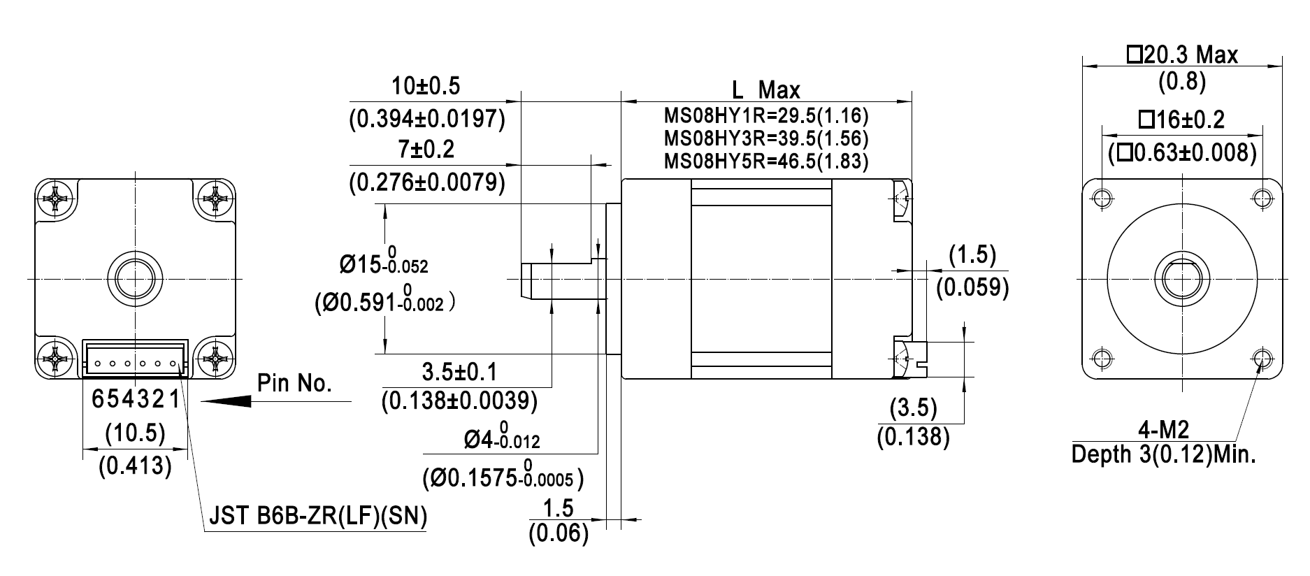 stepper motor MS08HY dimensions