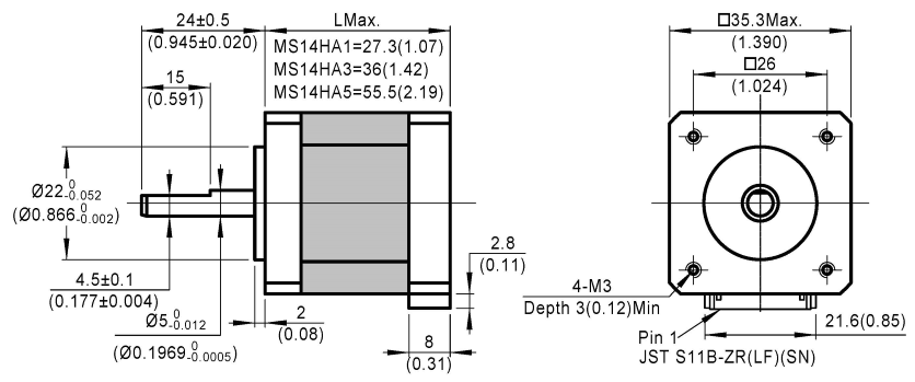 stepper motor MS14HA dimensions