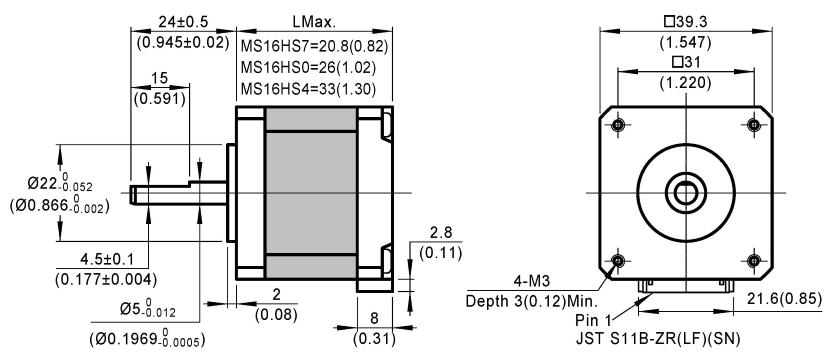 stepper motor MS16HS dimensions
