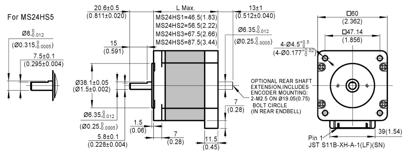 stepper motor MS24HS dimensions