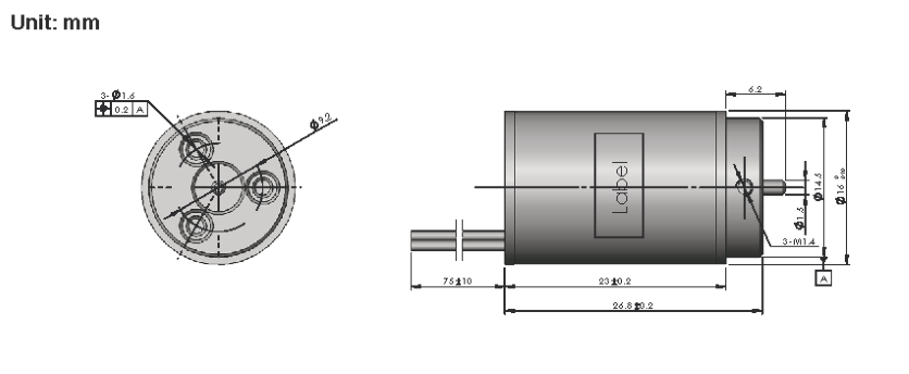 Brushless DC Motor R16BLDC dimensions