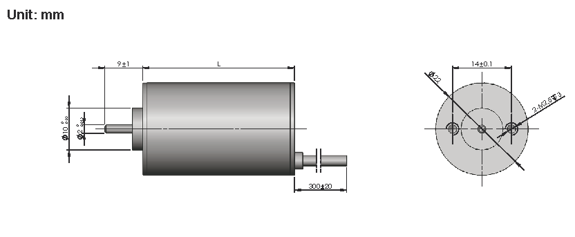 Brushless DC Motor R22BLDC dimensions
