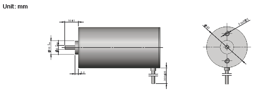Brushless DC Motor R30BLDC dimensions