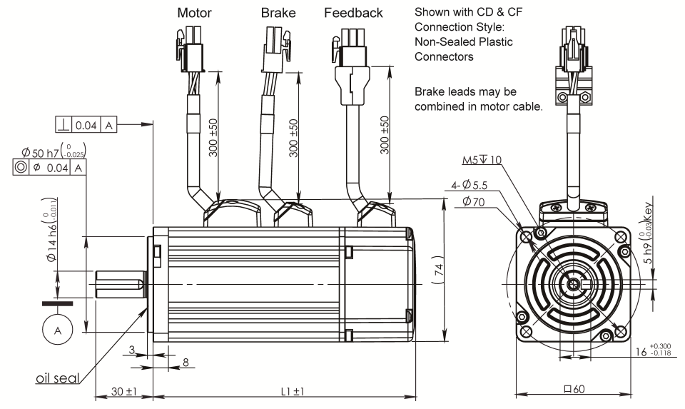 AC Servo Motor SM060 dimensions with brake
