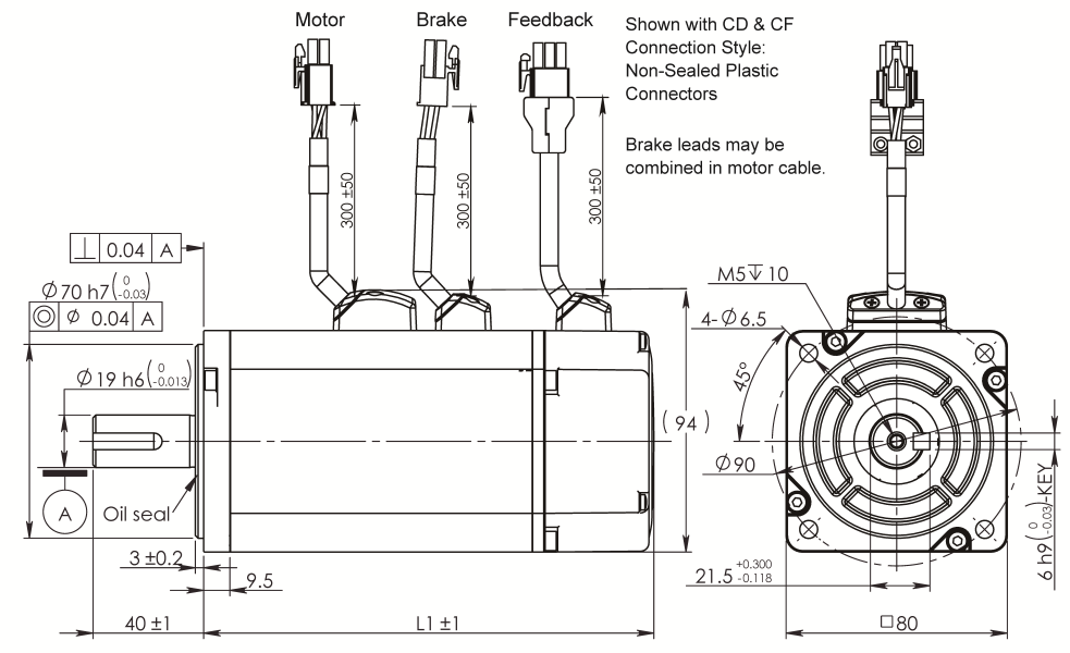 AC Servo Motor SM080 dimensions with brake