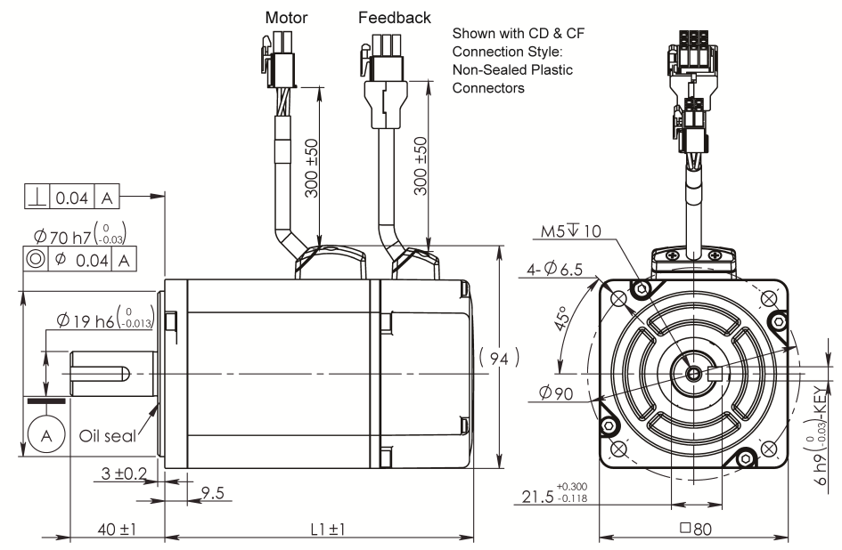 AC Servo Motor SM080 dimensions without brake
